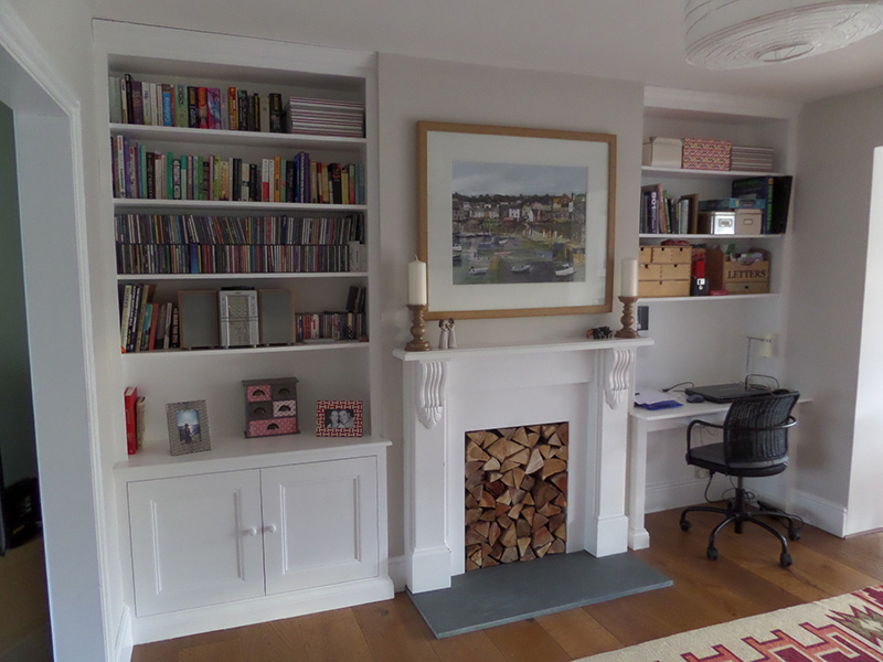 Exeter, Made to measure fitted alcove units in pine, painted in white
